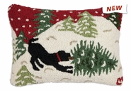 "Bringing Home Tree Red 14"" X 20"" Hooked Wool Pillow"