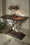 Bronze and Wood Accent Table