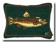 Brown Trout Hooked Wool Pillow