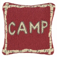 "Camp Hooked Wool Pillow - 14"" x 14"""