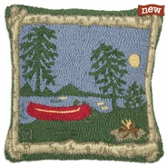 "Campfire 18"" Hooked Wool Pillow"