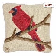 "Cardinal 14"" Hooked Wool Pillow"