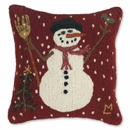 "Carrot Nose Hooked Wool Winter Pillow - 18"" Square"
