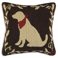 "Cattails Lab Hooked Wool Pillow - 18""-"