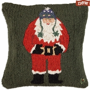 "Checking His List Santa 18"" Hooked Wool Pillow"