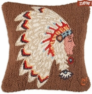 "Chief Sitting Bull 18"" Hooked Wool Pillow"
