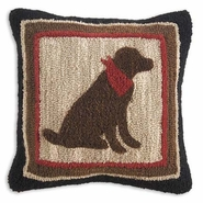 Chocolate Lab Hooked Wool Pillow - 18""