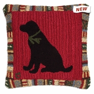"Cinnamon Black Lab 18"" Hooked Wool Pillow"