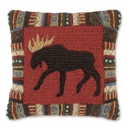 "Cinnamon Moose Hooked Wool Pillow -- 18"" Square"