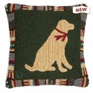 "Cinnamon Yellow Lab 18"" Hooked Wool Pillow"