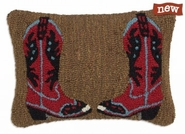 "Cowboy Boots Red on Brown 14"" X 20"" Hooked Wool Pillow"