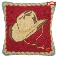 "Cowboy Hat 18"" Hooked Wool Pillow"