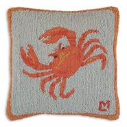 Crab Hooked Wool Pillow - 18""