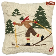 "Cross Country 18"" Hooked Wool Pillow"