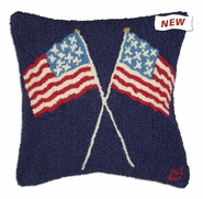 "Crossed Flags 18"" Hooked Wool Pillow"