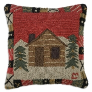 "Crowsnest Cabin 18"" Hooked Wool Pillow"