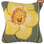"Daffodil 18"" Hooked Wool Pillow"