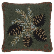 "Diamond Pinecone 18"" Hooked Wool Pillow"