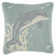 "Dolphin 18"" Hooked Wool Pillow"