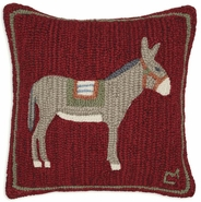 Donkey Hooked Wool Pillow - 18""