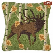 "Elk in Aspens 18"" Hooked Wool Pillow"