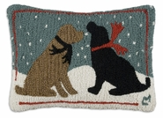 "Evening Snow Dogs 14"" X 20"" Hooked Wool Pillow"