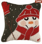 "Fat Snowman and Mittens 18"" Hooked Wool Pillow"