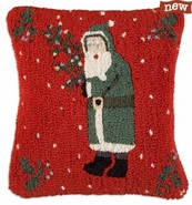 "Father Christmas 18"" Hooked Wool Pillow"