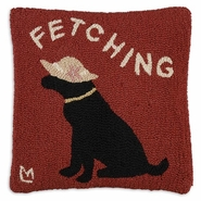 Fetching Hooked Wool Pillow - 18""