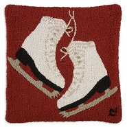 "Figure Skates 18"" Hooked Wool Pillow"