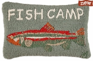 "Fish Camp 14"" X 20"" Hooked Wool Pillow"