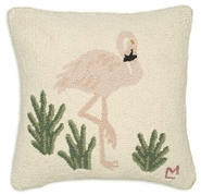 Flamingo Hooked Wool Pillow - 18""
