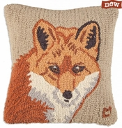 "Fox Face 18"" Hooked Wool Pillow"