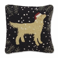 "Golden Christmas Hooked Wool Pillow - 18"" Square"