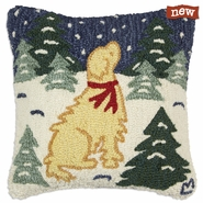 "Golden Snow Storm 18"" Hooked Wool Pillow"