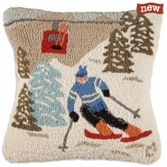 "Gondola Run 18"" Hooked Wool Pillow"