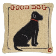 "Good Dog Black Lab 18"" Hooked Wool Pillow"