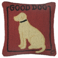 "Good Dog Yellow Lab 18"" Hooked Wool Pillow"