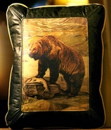 """Grizzly Bear"" Leather Pillow"