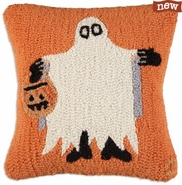 "Halloween Ghost 18"" Hooked Wool Pillow"
