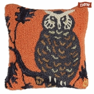 "Halloween Hoot Owl 14""  Hooked Wool Pillow"