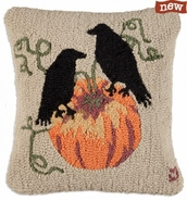 "Halloween Ravens 18"" Hooked Wool Pillows"
