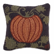 Harvest Pumpkin Hooked Wool Pillow - 18""