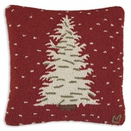 Heavy Snow Holiday Hooked Wool Pillow - 18""