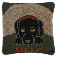 Hiding Dog Hooked Wool Pillow - 18""