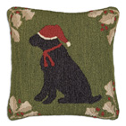 Holly Lab Hooked Wool Pillow - 18""