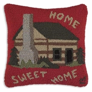 Home Sweet Home Hooked Wool Pillow - 18""