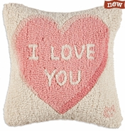 "I Love You 14"" Hooked Wool Pillow"