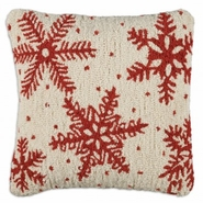"Icy Flakes 18"" Hooked Wool Pillow"