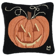 "Jackolantern 18"" Hooked Wool Pillow"